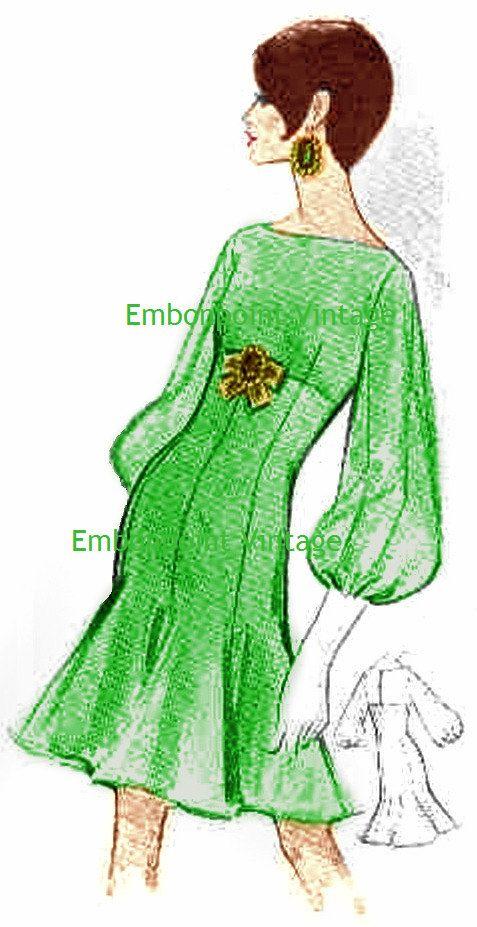Plus Size or any size Vintage 1969 Dress Pattern PDF