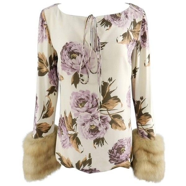 Preowned Carolina Herrera Silk Floral Blouse With Sable Fur Cuffs ($465) ❤ liked on Polyvore featuring tops, blouses, beige, carolina herrera blouses, beige top, floral blouse, brown blouse and sleeve blouse