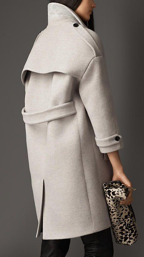 Burberry London Oversize Virgin Wool Cashmere Herringbone Caban