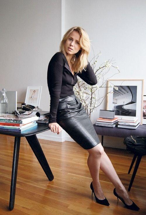 15 Ideen für einen Lederrock für die Arbeit
