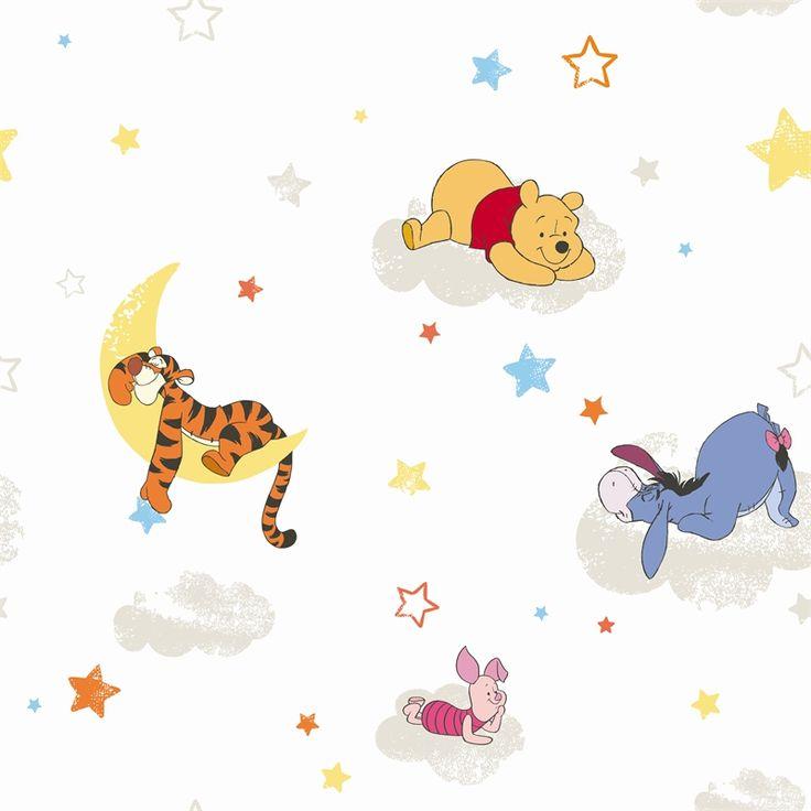 Disney Winnie the Pooh Rise & Shine Wallpaper #childrendecor #white #disney