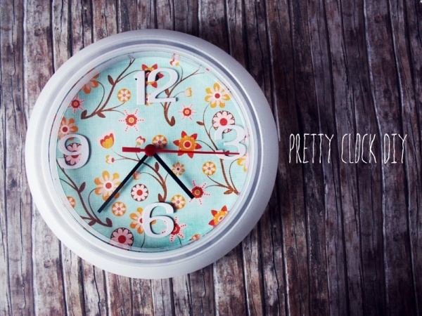 Ikea Clock DIY: Diy Clocks, Crafts Ideas, Clocks Redo, Clocks Diy, Diy Wall, Scrapbook Paper, Wall Clocks, Clocks Makeovers, Cheap Clocks