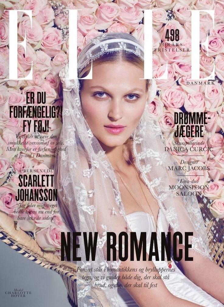 Bridal veil by Maria Fekih on the cover of ELLE Denmark #marts 2014 beautiful captured by photographer Olivia Frølich