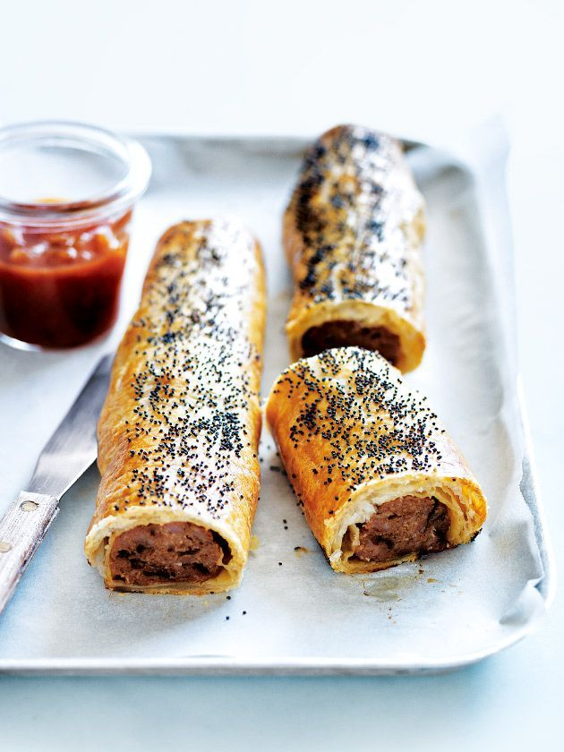 beef and caramelised onion sausage rolls from donna hay