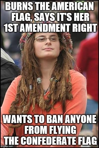 Liberal logic - Burns the American Flag, says it's her right. Wants to ban anyone from flying the Confederate Flag.