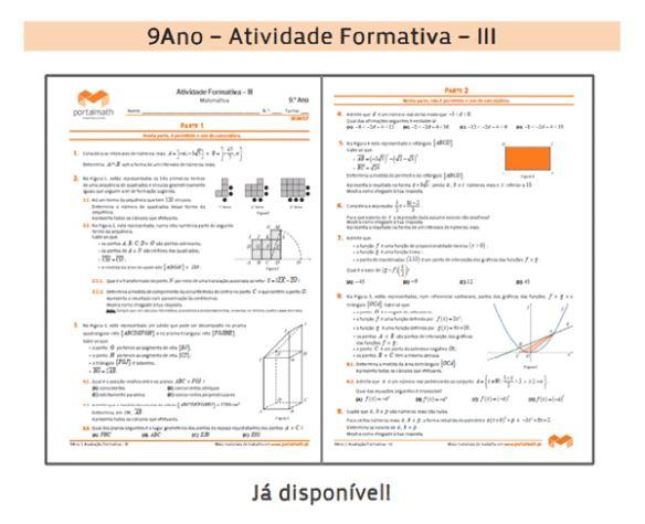 9Ano - Atividade Formativa - III - portalmath.pt - Matemática Online