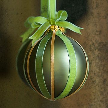 Add ribbon stripes to a plain ornament. Remove the ornament cap, hot glue the strips to the ornament, beginning at the base. Tuck the ends of the ribbons into the top opening and glue into place. Replace the ornament cap and tie a bow around the hanging loop. Done!