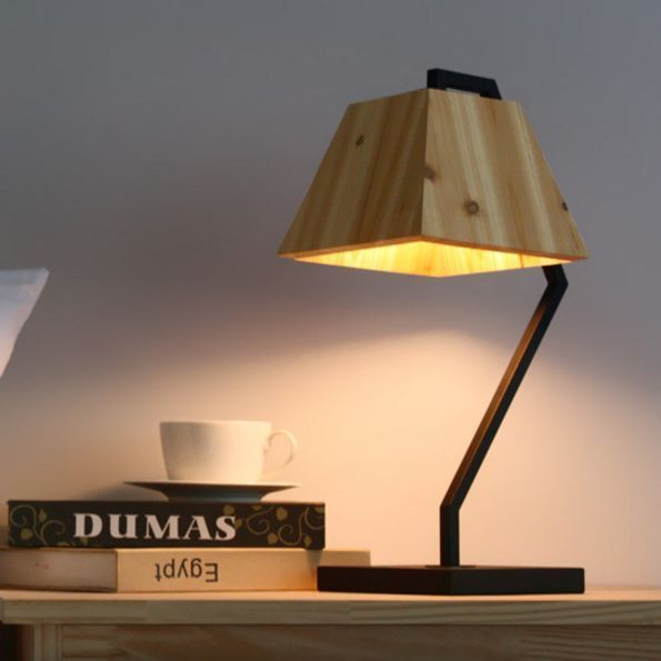 Home Deco Modern Black Design Table Lamp Solid Wood Base Bedside Light Cafe Desk…