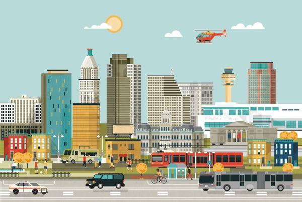Convene magazine - American city illustration by Arunas Kacinskas, via Behance