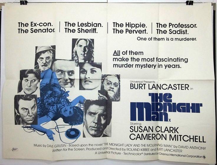 THE MIDNIGHT MAN - BURT LANCASTER / SUSAN CLARK - ORIGINAL UK QUAD MOVIE POSTER