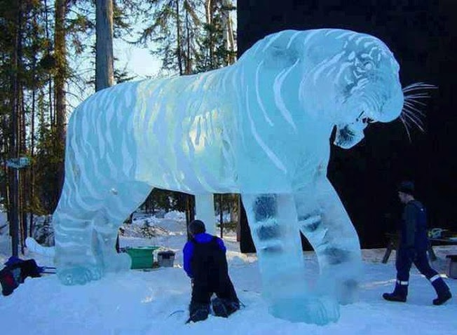 Image result for siberian ice sculpture tiger images