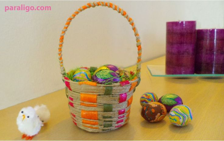 #Easterbasket out of twine and ribbons (tutorial)!