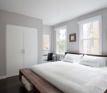 Benjamin Moore Cement Gray via East Village Duplex - modern - bedroom - new york - General Assembly