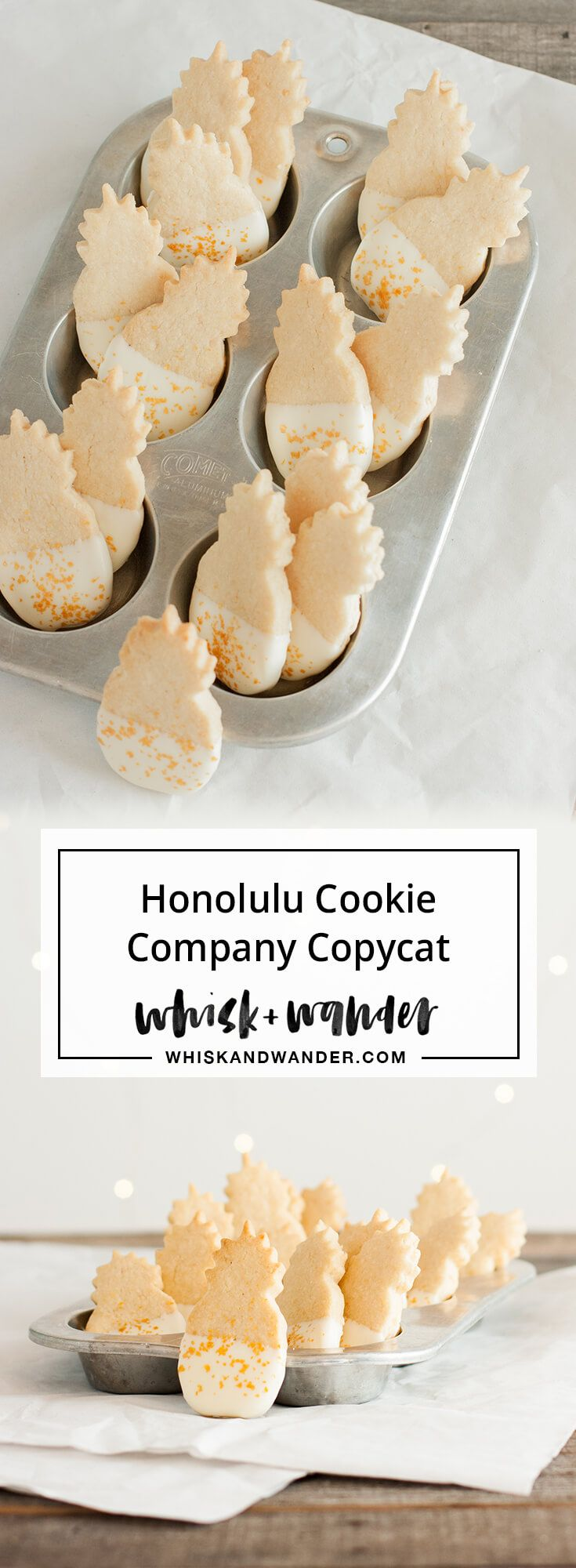 This macadamia nut shortbread cookie tastes just like the pineapple shaped version made famous by the Honolulu Cookie Company! via @whiskwander