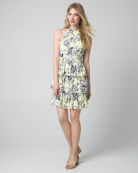 Floral+Print+Ghost+Gauze+Halter+Dress