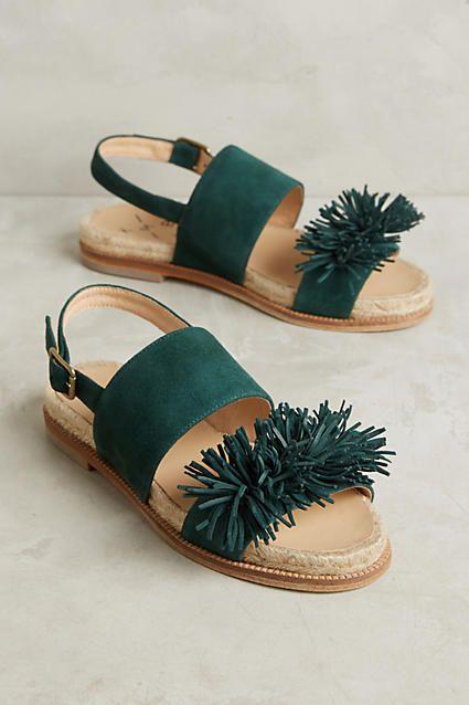Anthropologie KMB Fringe Slingback Sandals