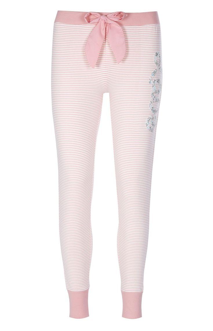 Legging de pyjama rose lapin à rayures