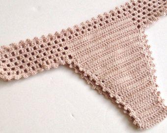 Powder Pink Crochet Bikini Bottom Women Swimwear by senoAccessory
