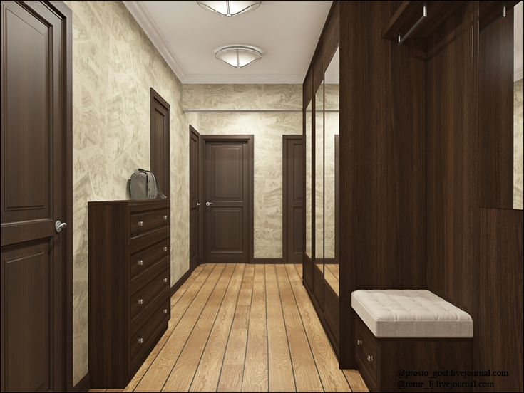 коридор: темные двери, светлый пол, светлые стены