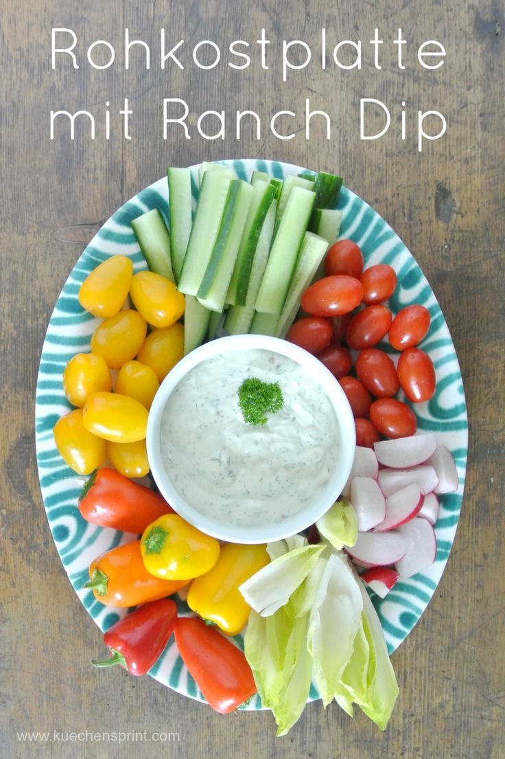 ROHKOSTPLATTE MIT RANCH DIP #Rezept #Rohkost #Dip #Snack