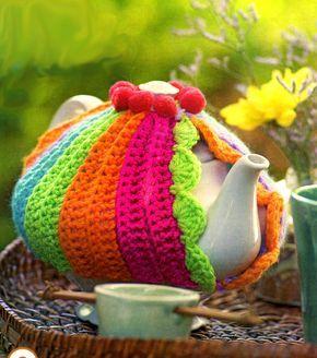 tejidos artesanales en crochet: cubre tetera tejida en crochet cobre bule com receita e gráficos