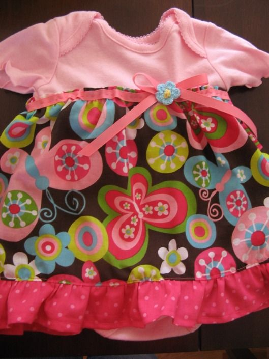 Onesie Ruffle Dress - what a sweet idea for a semi-homemade baby shower gift!