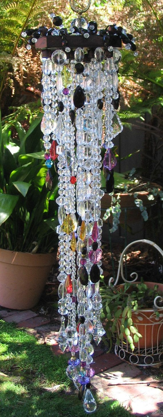 Bo Ho Gypsy Meets Gothic Bling Suncatcher, Cascading Multicolour And Black  Hanging Crystals For Window Or Outdoor Decor