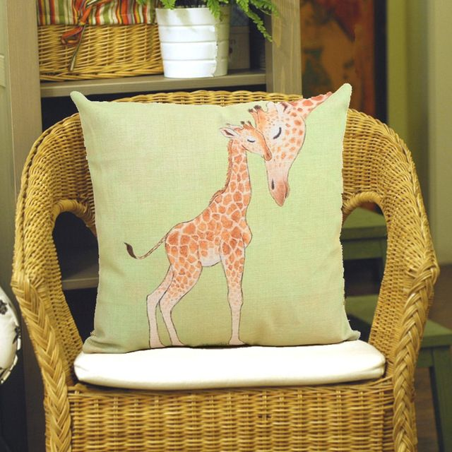 Sweet Giraffe Family Pillow Case Cotton Linen Cushion Cover For Office/bedroom/chair seat Cushion 18x18 inches Free Shipping