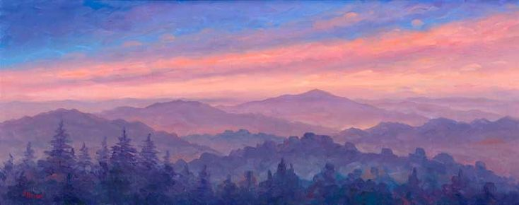 Cold mountain nc oil painting sunset sky quiltm