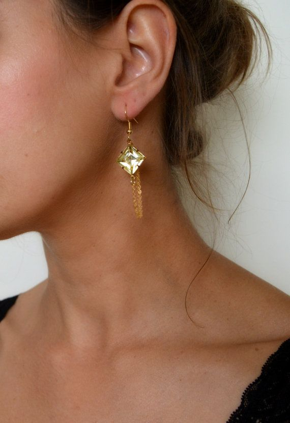 1920s inspired citrine and gold earrings