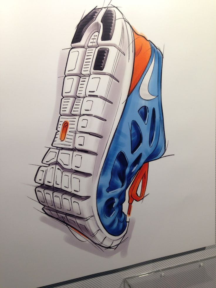 Nike running shoe industrial design sketching sneakers concept