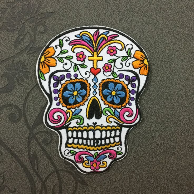 White Sugar Skull Patches iron on patch Sew on patch punk patches Bag patch