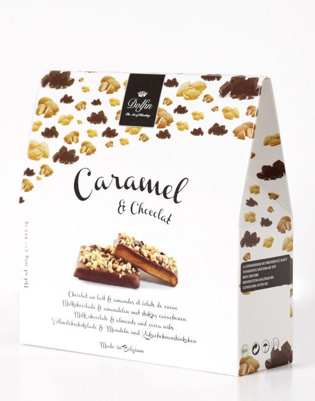 Dolfin 200g. Caramel cu unt sarat invelit in ciocolata cu lapte, migdale si fulgi de cacao