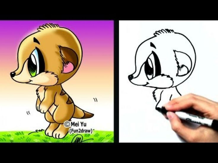 Fun2draw Animals How To Draw Cartoons Easy A Meerkat