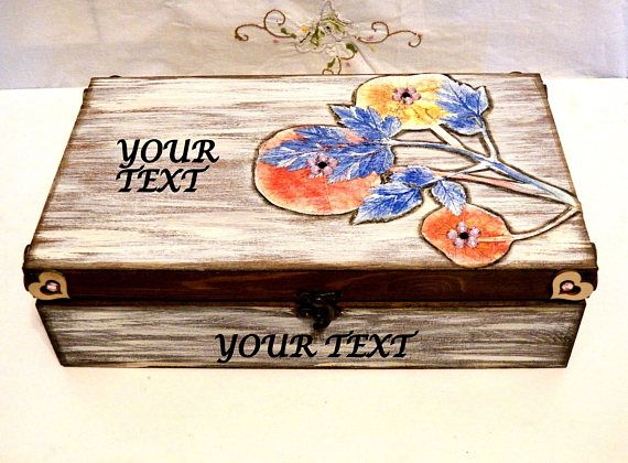 Caja de Recuerdos Rústica Caja de Madera Joyero de Boda