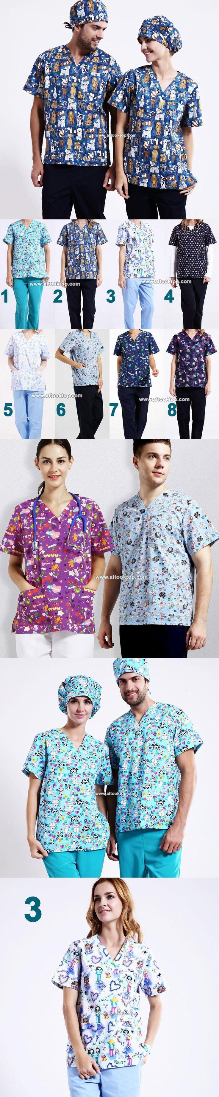Purple animal hospital clinic doctor workwear scrub set pet print medical robe clothes medical clothing nurse uniform top +pants