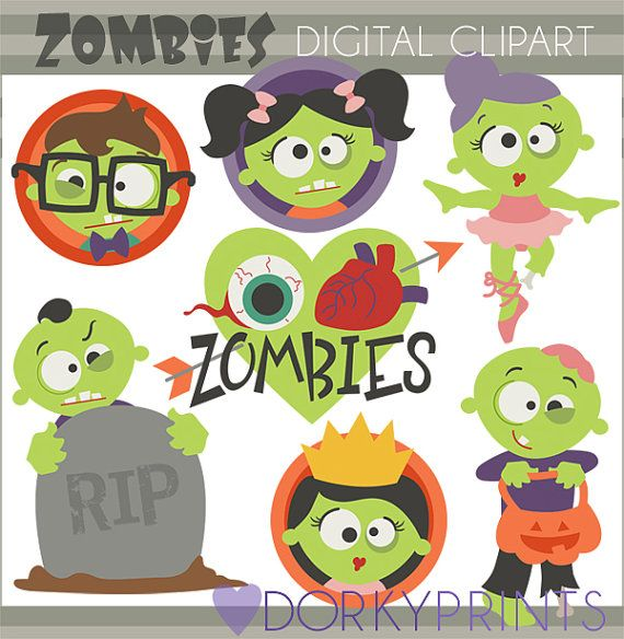Halloween Clip Art Zombies -Personal and Limited Commercial Use- Zombie Clipart