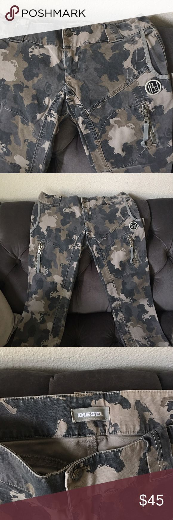 Diesel brand camo capris. Like new! Bought years ago but only wore a few times. They are fitted and sexy! Low waisted. Diesel Pants Capris