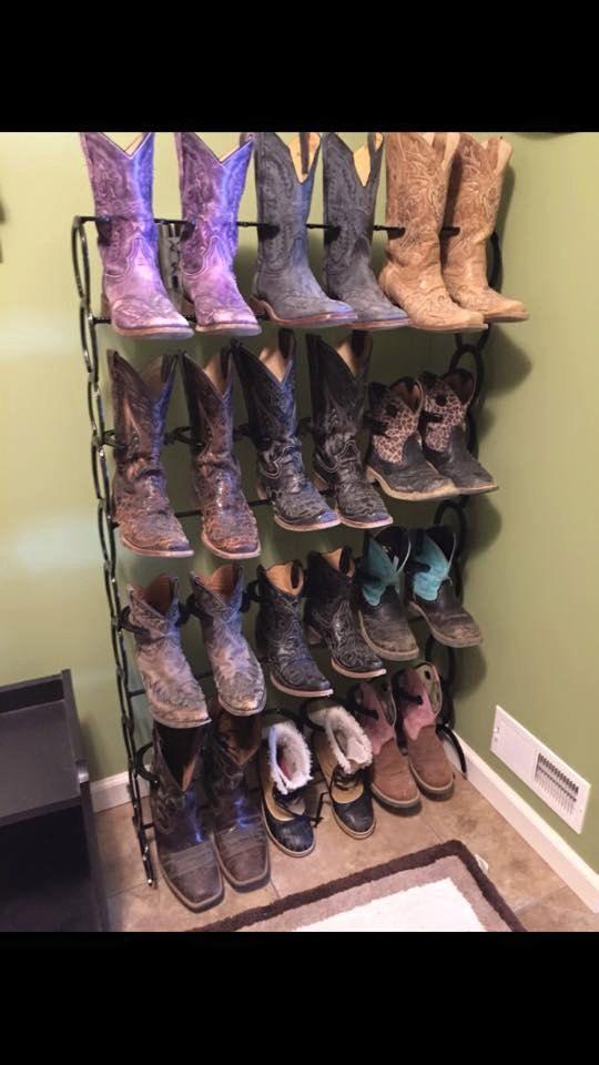 Horseshoe Boot Rack. Four Tier Boot Rack. by DavisHomeDecorStore