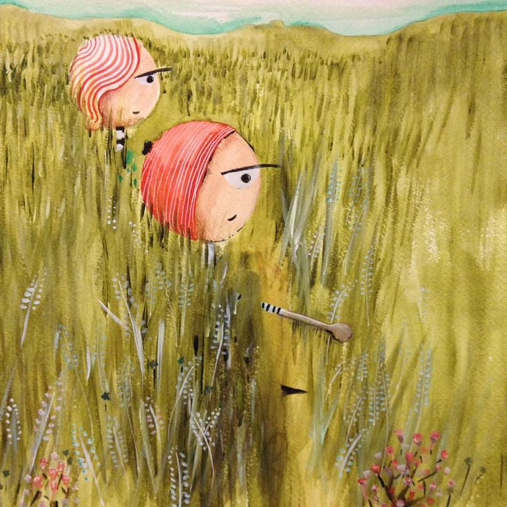 I love walking through tall grass - these two, however, are searching for a special flower. #shygirl #painting #adventure #narrativeillustration #drawing #drawingboard #fernieartist #storytelling #acrylicpainting #wip