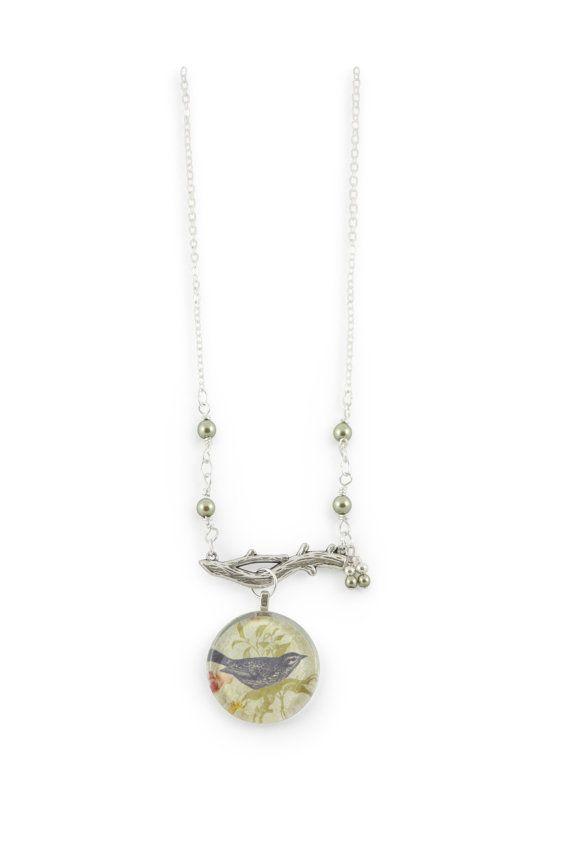 Bird necklace - pretty bluebird