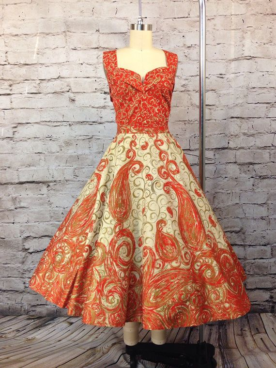 Vintage 1950's 2pc Mexican Cotton Circle Skirt and Halter Top Dress Set VLV Pin Up Hourglass Mexico Orange Metallic Gold Pin Up Size M