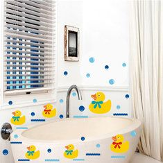 #Banggood Виниловые наклейки стене ванной резиновая утка семьи и пузыри декор (959579) #SuperDeals