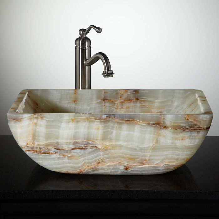 Lynx green onyx vessel sink lake house bathrooms for Onyx vessel sinks