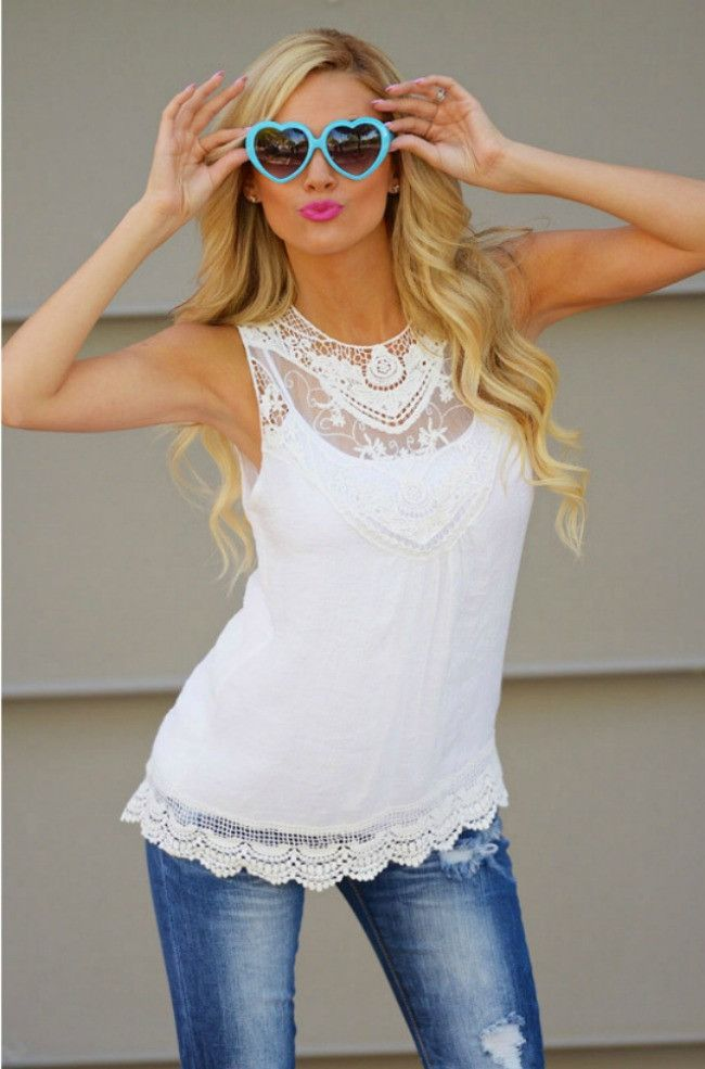"You will be loving life and lace in this gorgeous loving lace tank. Features an O neck with lace trim and a lace detailed bottom. Semi Sheer. Sizing: S-XL - Bust: S-34"", M-36"", L-38"", XL-41 - Length:"