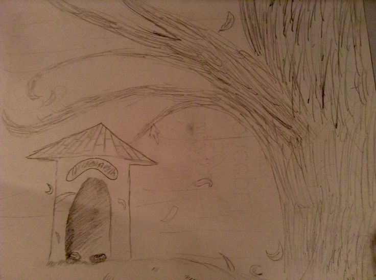 A tree and doghouse. Not sure why I drew this