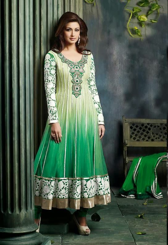 @SonaliBendre in ornate ombre green & mint #Desi #Anarkali