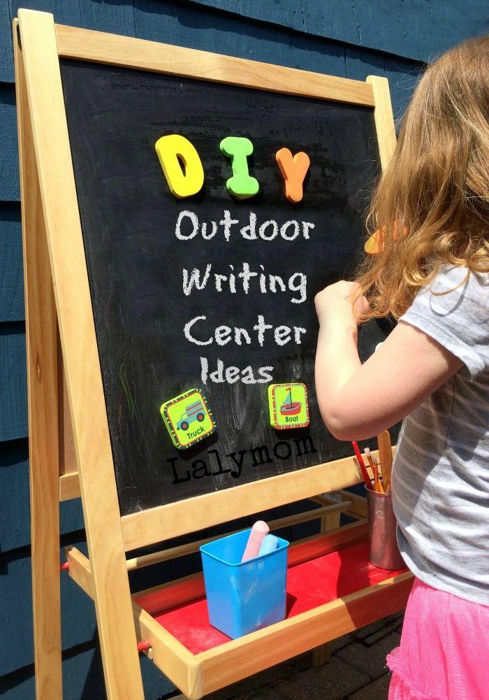 Preschooler Writing Activities for Kindergarten Readiness - Outdoor Writing Center and 7 Activities from Lalymom