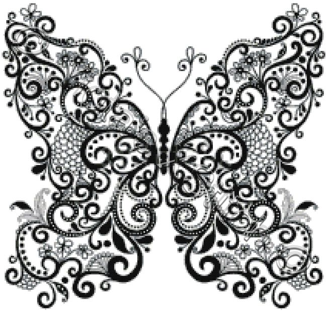 Butterfly in black and white cross stitch kit | Yiotas XStitch
