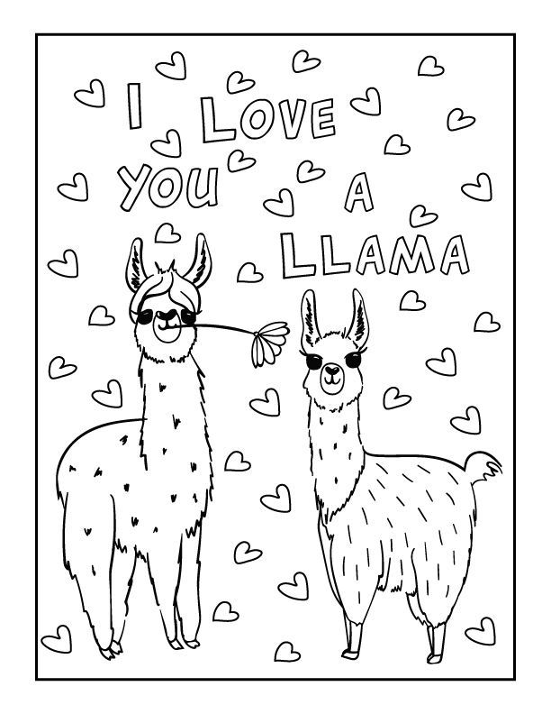 Valentines Day Llama Coloring In 2020 Unicorn Coloring Pages Printables Free Kids Coloring Valentine Coloring Pages
